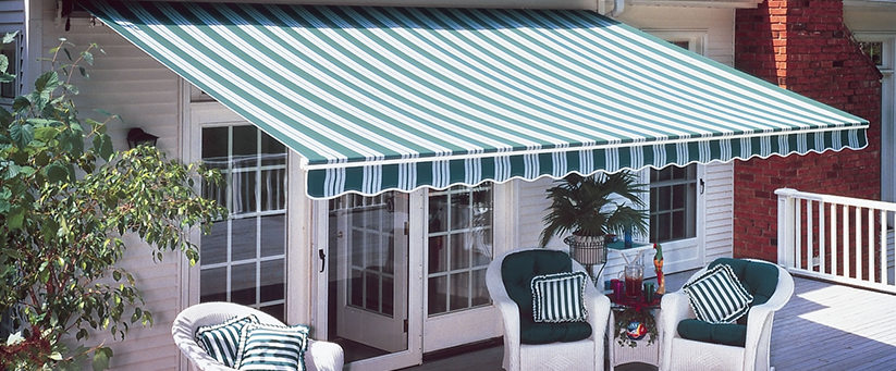 Stripes of green and white awning
