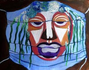 Denise Contos. Masque. Gouache papier.