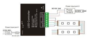 12V 24V 4A*4CH RGBW Music Controller with RF 24 key Remote