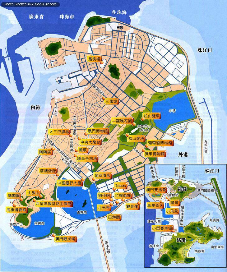 澳門景點分佈地圖 - 澳門地圖 Macau Map - 美景旅遊網