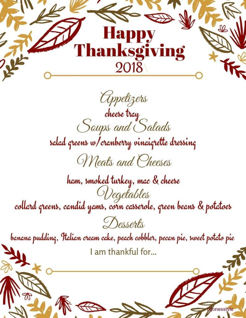 graphic regarding Printable Menu Card referred to as Our Thanksgiving Menu + Printable Menu Playing cards