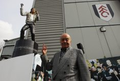 Mohamed al-Fayed with MJ's statue