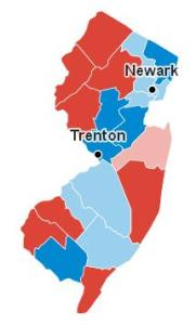 Map of New Jersey's Electoral College vote, from Google, 3:00 Wednesday morning.