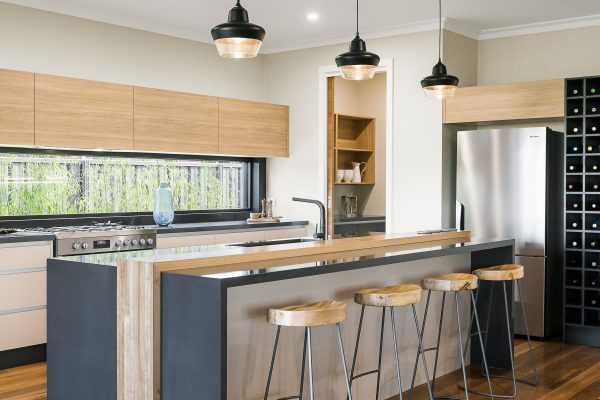 Island bench with waterfall ends, new kitchen Wodonga