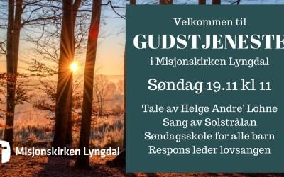 Velkommen til Gudstjeneste søndag 19/11-17