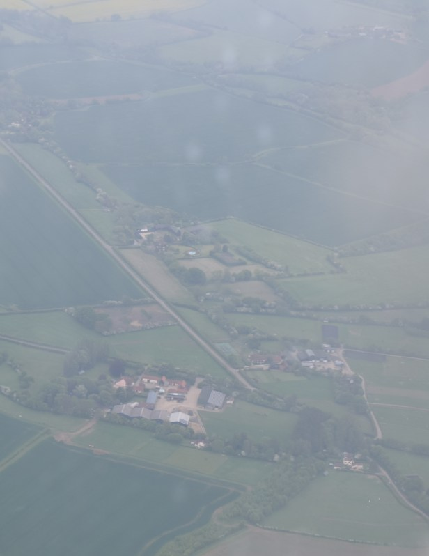 Essex rural area in United Kingdom, seen from Ryanair, cropped