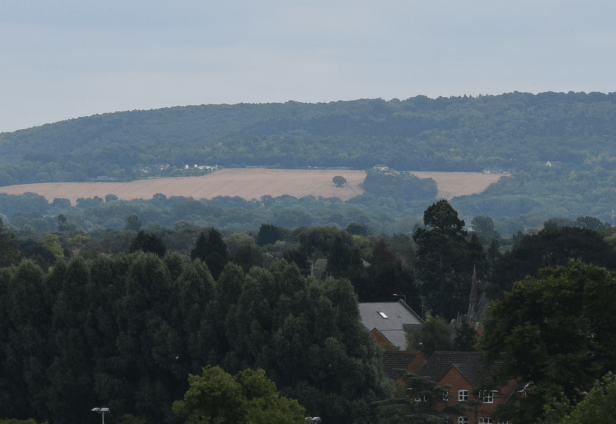 Nikkor 55-300mm Chiltern Hills seen from Aylesbury Telephone Exchange, 55mm, cropped