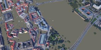 Dresden Flood 2002 Google Earth