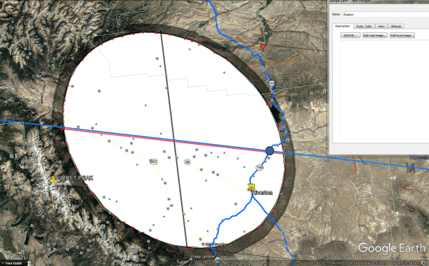 Google1 Earth drawing the polygon 2017 total solar eclipse umbra