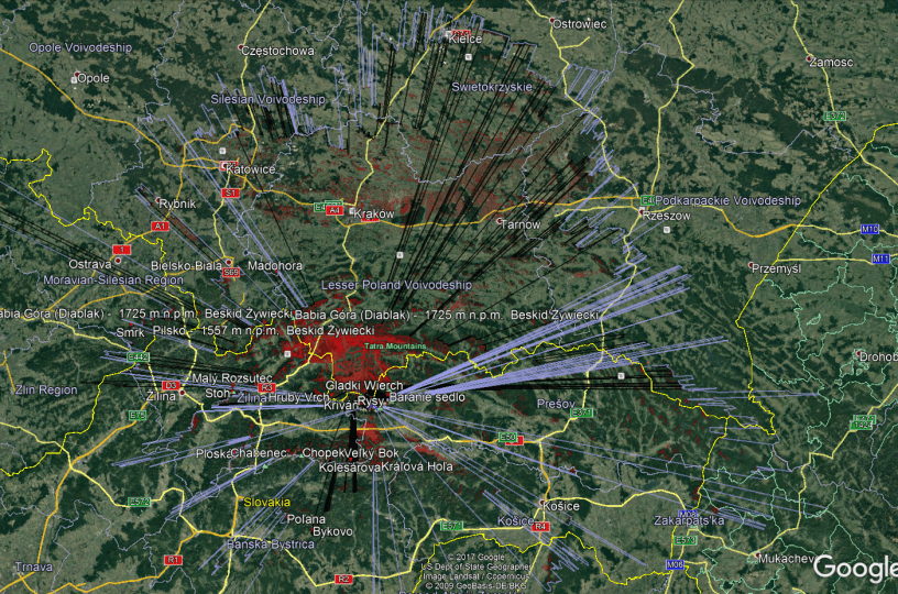 Rysy and Giewont Heywhatsthat.com visibility cloak shown in Google Earth