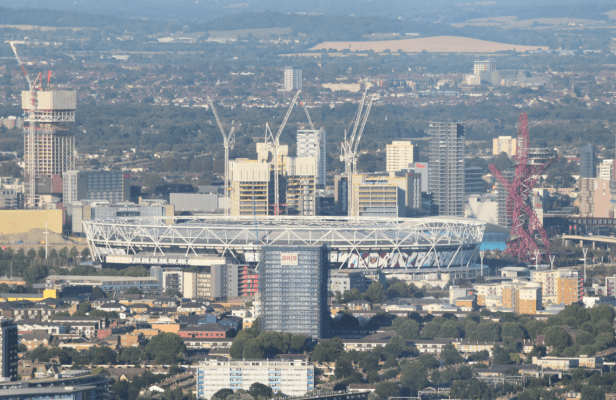 Olympics stadium with arcelor Mittal Orbit seen from The Shard