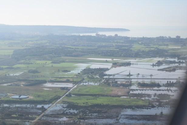 Inundación en Mallorca vista desde un avión EasyJet