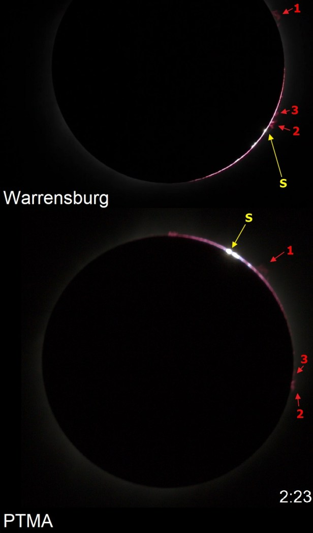 2017 total solar eclipse prominences appearance to that of 3rd contact monent