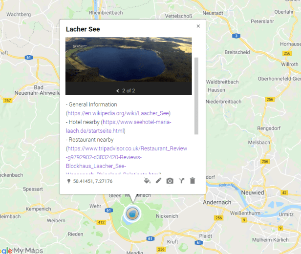Google MyMaps hyperlink after edition in Scribble Maps.