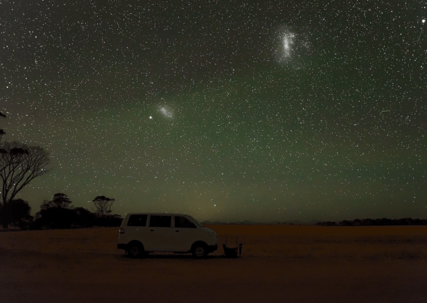 Magellan clouds and light pollution from Albany, Western Australia