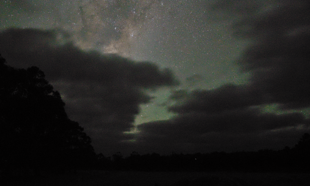 Milky Way shining on the clouds