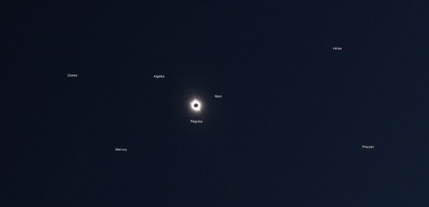 Total solar eclipse visibility of stars and planets
