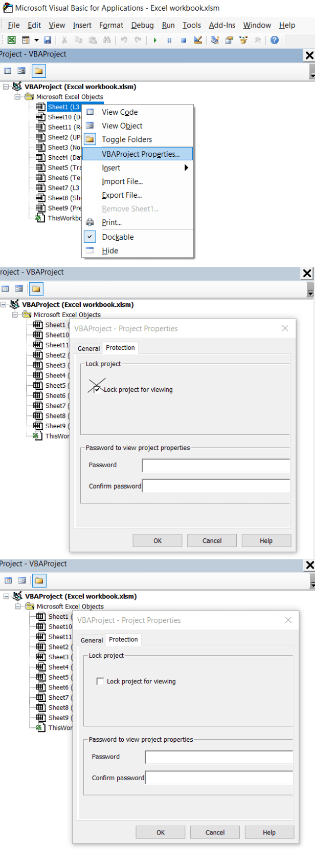 Excel VBA project protection section