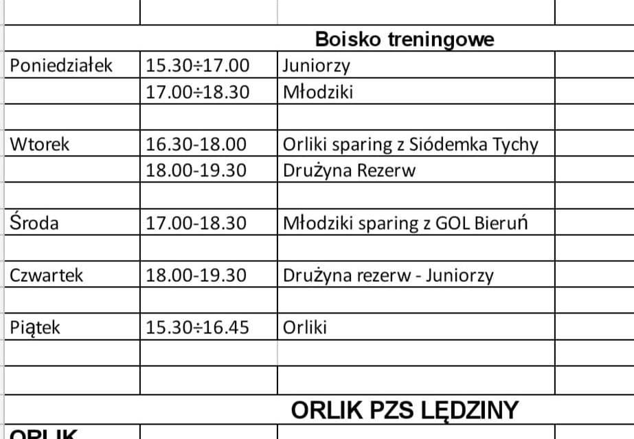 Treningi w dniach od 22 do 26 czerwca