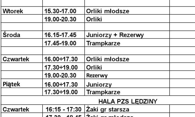 Treningi w dniach 15 – 19 luty 2021