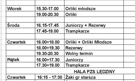Plan treningów młodzieży w dniach 22-26 luty
