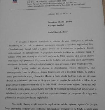 List otwarty Zarządu MKS Lędziny do władz miasta!