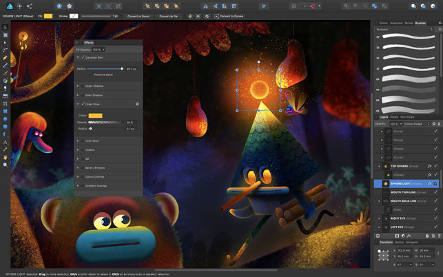 Screenshot of an illustration created using Affinity Designer digital illustration tool