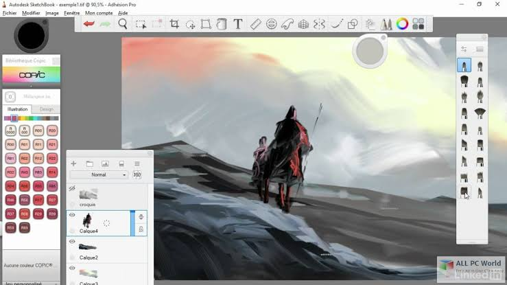 Screenshot of an illustration created using Autodesk Sketchbook illustration software