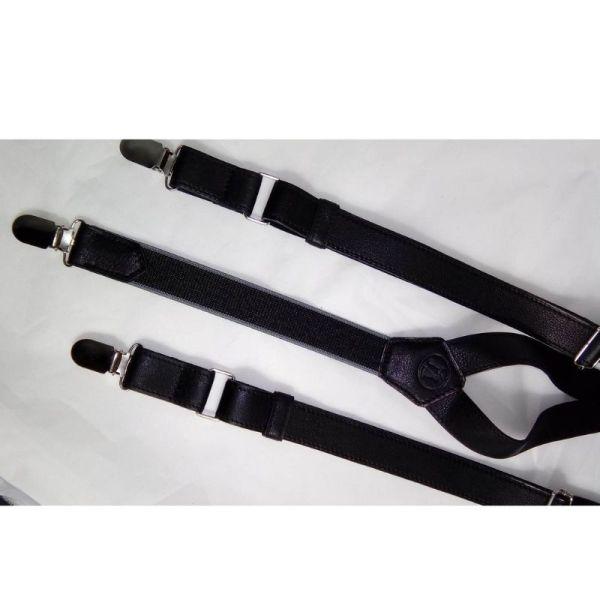 Bretelles en cuir noir fabriquée en France atelier artisanal