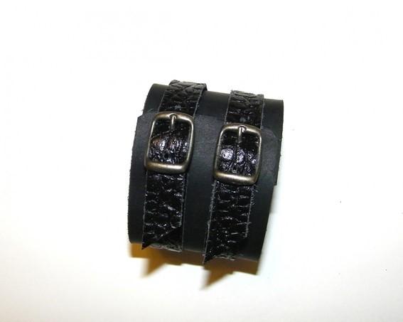 bracelet de force cuirnoir et croco