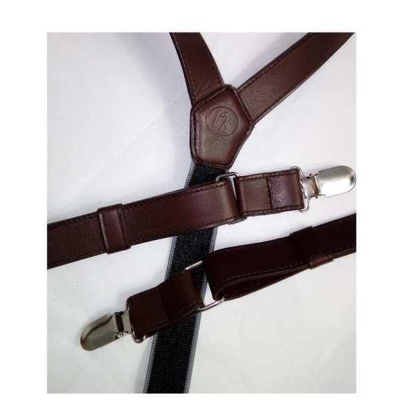 Bretelles en cuir marron fabriquée en France atelier artisanal