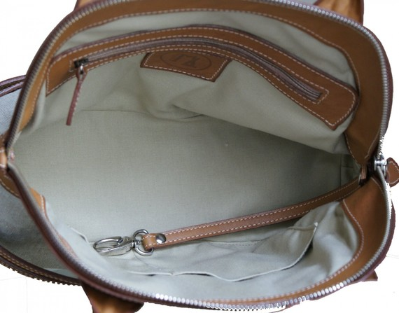 doublure sac en cuir naturel et toile de lin
