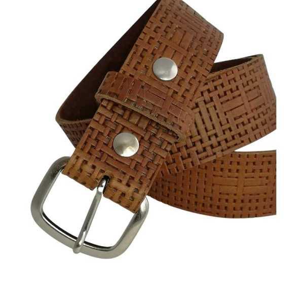 ceinture en cuir marron tressage et boucle interchangeable