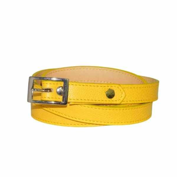 ceinture femme en cuir jaune fabriqué en france par ml-sellier