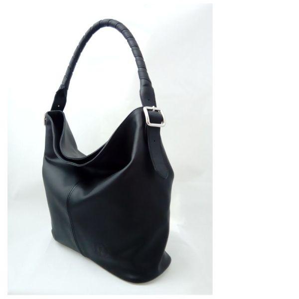 sac besace hobo en cuir noir fabriqué en France par ML-Sellier