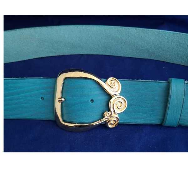 ceinture large à grande boucle dorée seventies artisanale française
