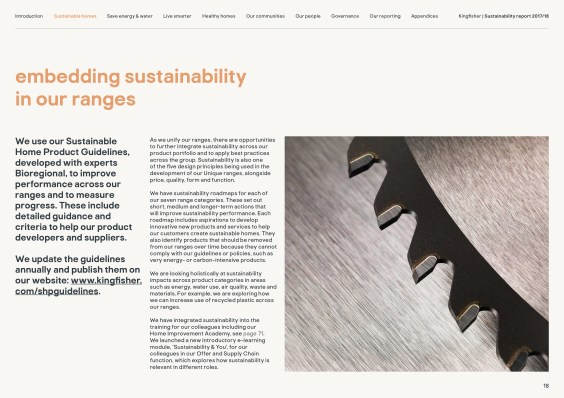 Kingfisher Sustainability Report 2017/18 example page 18