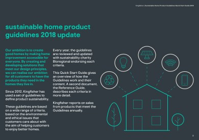 Kingfisher Sustainable Home Products quick guide 2018 updates
