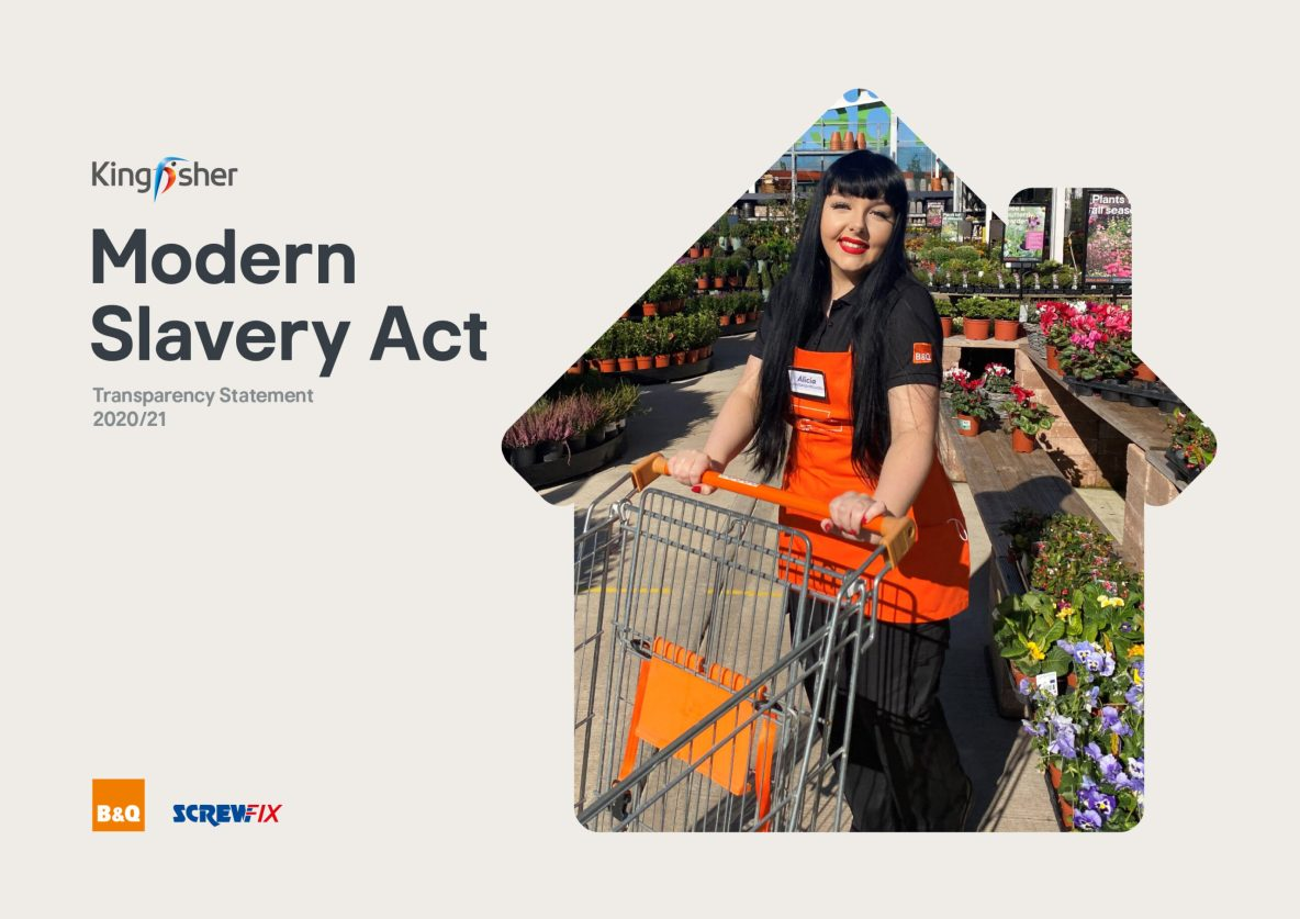 Kingfisher Modern Slavery Act Statement 2021, cover.