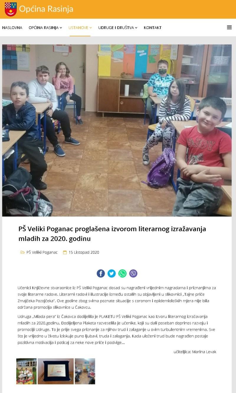 Općina Rasinja: PŠ Veliki Poganac proglašena Izvorom literarnog izražavanja mladih za 2020. godinu