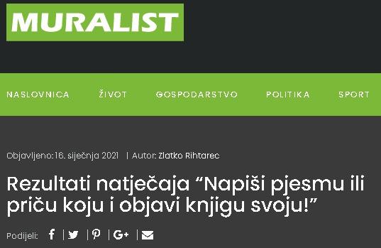 """Muralist: Rezultati natječaja """"Napiši pjesmu ili priču koju i objavi knjigu svoju!"""""""