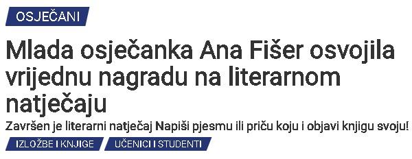 OsijekNews: Mlada osječanka Ana Fišer osvojila vrijednu nagradu na literarnom natječaju