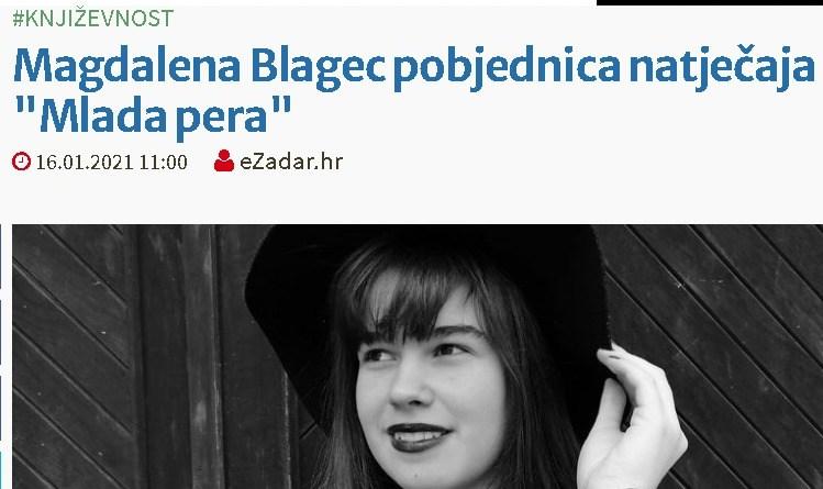 """Magdalena Blagec pobjednica natječaja """"Mlada pera"""""""