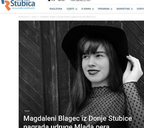 Radio Stubica: Magdaleni Blagec iz Donje Stubice nagrada udruge Mlada pera
