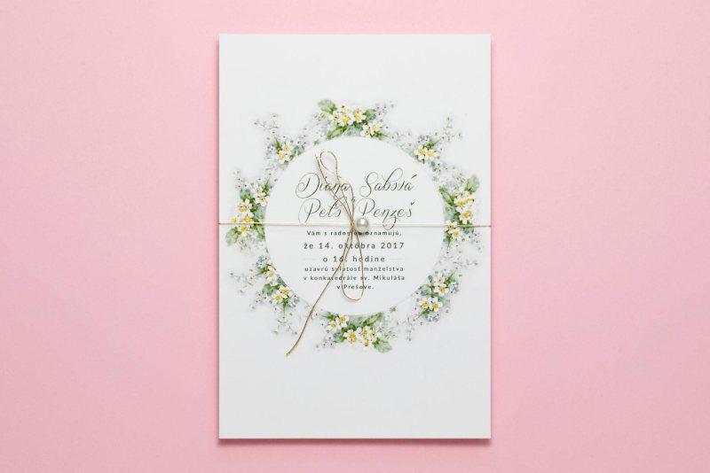 svadobné oznámenie nezábudky zlátené s perličkou