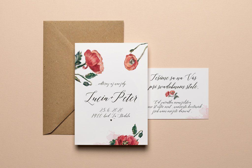 svadobné oznámenie s akvarelovými makmi, pozvánka a recyklovaná obálka