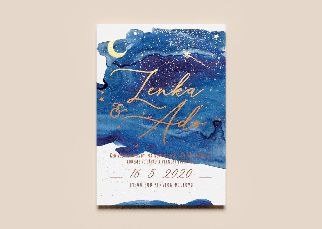 Zlatené svadobné oznámenie s nočnou oblohou