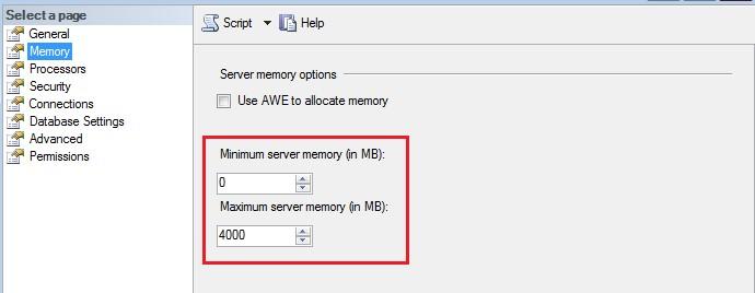 SQL Memory Configuration