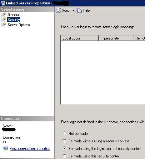 Linked Server Properties