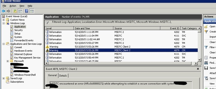 No transaction is active event viewer